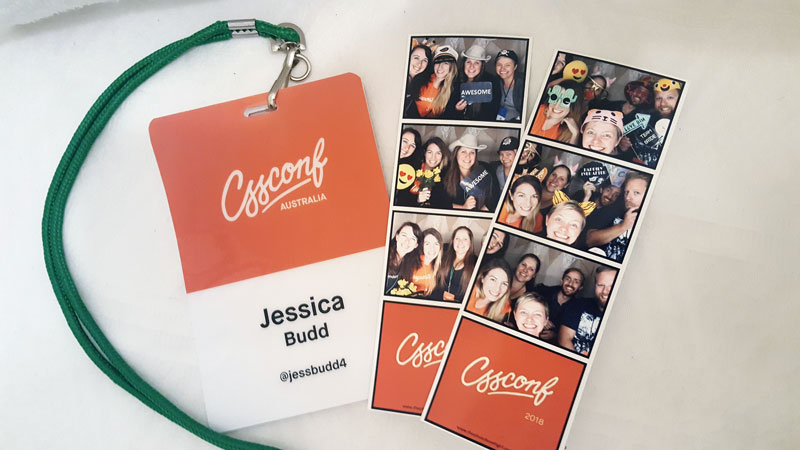 CSSConf name lanyard and 2 photobooth strips